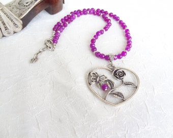 Purple Agate Necklace, Silver Heart Necklace,Heart Pendant Necklace, OOAK Feminine