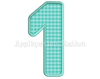 Rounded Number One Plain 1st Birthday Applique Machine Embroidery Design first INSTANT DOWNLOAD
