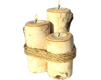 Birch Candle Trio, Birch Bark Candles, Rustic Tiered Candle Holder, Rustic Candle Set