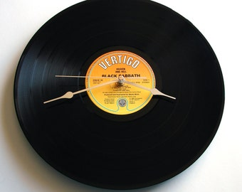 """BLACK SABBATH Vinyl Record CLOCK """"Heaven and Hell"""" Recycled 12"""" single Heavy Metal Clock. Gift for men or women, as long as you rock hard.."""