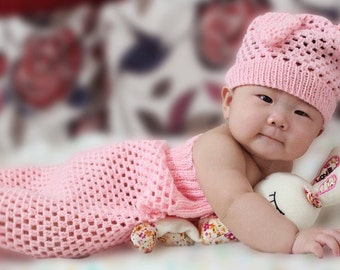 Crochet Baby Cacoon and Hat- Handmade