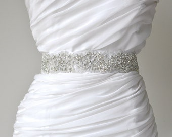 Wedding sash, Crystal rhinestone beaded bridal sash, Bridal Accessories
