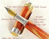 Handcrafted Wooden Pen Fountain Pen Handcrafted Wormy Flame Box Elder Beautiful Rhodium and Gold Titanium Hardware 634FPW