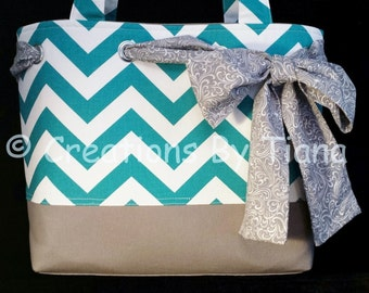 Chevron Tote - Bag - Purse - Gray - Turquoise - Handmade - Shoulder Bag