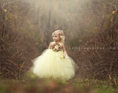 Yellow and Gray flower girl tutu dress, Flower girl dress, Girl tutu dress, burlap wedding