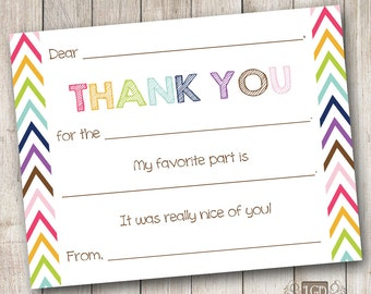 Rainbow Chevron 1 Fill in the Blank Thank You Card - Digital File (Print Your Own) - INSTANT DOWNLOAD