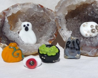 Handmade Glass Lampwork Focal Bead Set Spooky Halloween Themed Beads SRA