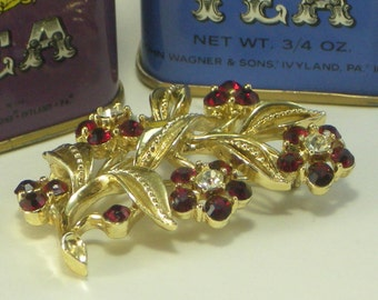 Red Flowered Brooch