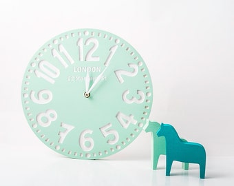 Wall clock faux vintage -London-  FREE SHIPPING birch clock handpainted by mint color personalization customisation possible
