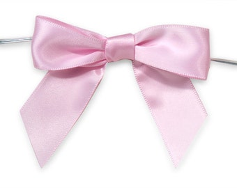"Pink 3"" Pre-Tied Satin Bows with 5"" Twist Ties~ 7/8"" ribbon- Pack of 6"