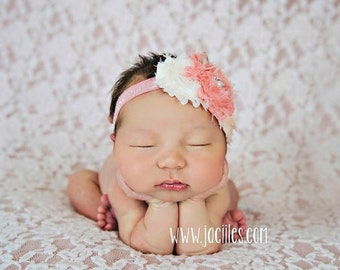 Newborn Headband, Baby Headband, Toddler Headband, Girls Headband, Shabby Flower Headband, Flower Headband, Pink Headband, Shabby Headband