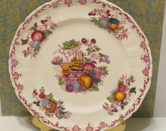 SALE Vintage Mason's China Ironstone Red Fruit basket  luncheon ,salad plate 1920's