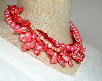 Bright coral baroque pearl necklace Pearl choker necklace Hot summer jewelry Colorful torsade multistrand necklace