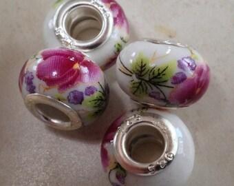 Vogue Ceramic Charm (3) Beads Fits European Bracelet