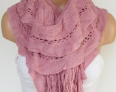 Knitted Shawl Scarf  , Pink Scarf, Neck Warmer, Winter Accessories, Fall Fashion, Holiday Accossories,Gift For Valentines