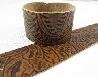 "Tan Western Floral Leather Cuff Bracelet  1-5/8"" Wide"