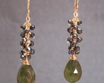 Cluster Earrings of Black Spinel and Idocrase Princess 151