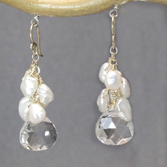 Keshi pearls & crystal quartz earrings Cosmopolitan 92