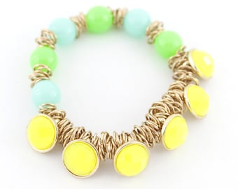 Special Stretchy Gold-tone Bright Yellow/Green/Blue Beads Elastic Bracelet,D4+