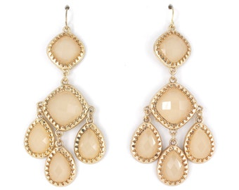 Gold tone Banana Mania/Champagne Color Chandelier Dangle Drop Earrings,Q4