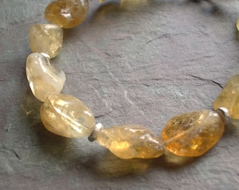 "Citrine Bracelet / Nuggets / Sterling Silver / Stone / Heishi / Disc / Charm / Pale Yellow / Gold - 7 1/2"" long - B61"