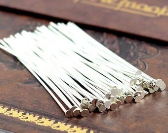 100pcs 50mm Bright Silver T Pin/ Headpins Findings