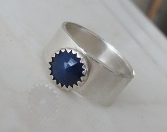 Natural Blue Sapphire Ring - Silver stone Handmade Ring - Size 7 - Engagement Blue Ring