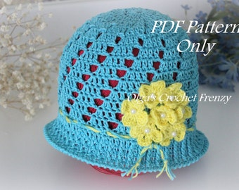 Blue Cloche Hat with Yellow Flowers Crochet Pattern, Size 3 to 5 Years Old, Instant Download