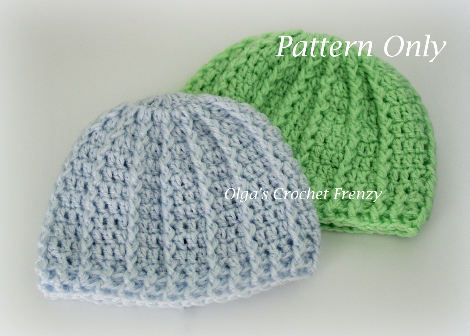 Crochet Beanie Hat Pattern For Babies : Newborn Baby Beanie Hat Crochet Pattern Quick to Make