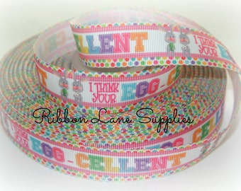 """7/8"""" Ribbon by the Yard Easter-Bunny rabbit ribbon Grosgrain Ribbon-Perfect for Bows Clips Scrap booking Sewing"""
