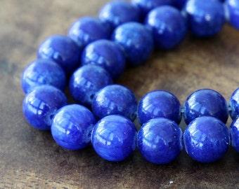 Mountain Jade Beads, Cobalt Blue, 10mm Round - 15 Inch Strand - eMJR-B22-10