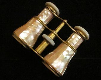 Antique Balland FT Paris Opera Glasses Mother of Pearl Brass Binoculars Field Glasses 1800s France Very Good to Excellent Condition