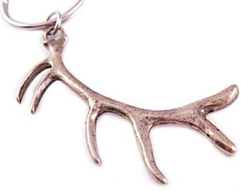 Bronze Elk Antler Key Chain - Hunting Key Chain - Antler Hunting - Antler Key Chain -  Gift for Him - Gift for Her - Hunter - Elk - Antler