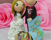 Wedding cake topper nurse & traveler wedding clay doll, clay miniature ring holder, engagement clay figurine, clay couple wedding gift