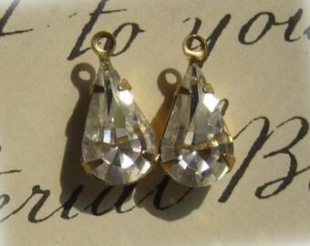 Swarovski Crystal 15MM  Brass Rhinestone Pear Teardrop 1 Loop Drop