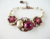 Pearl Bracelet with Fuchsia Pink Crystals. Romantic Style Rhinestone Jewelry with Antique Copper. Floral Vintage Style Jewelry