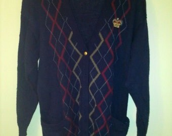 90's Oversized Preppy Argyle Navy Cardigan Size XL