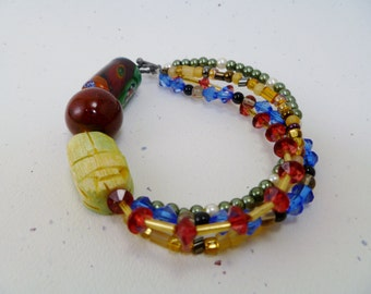 Circle Chic Beaded Bracelet (Red/Yellow/Blue)