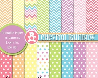 PRINTABLE Chevron Rainbow • 8.5x11 Digital Paper Pack • INSTANT DOWNLOAD