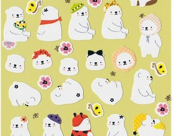 Korean Scrapbook Die-cut Stickers, Cozy polar bears V2 (STNO05027)