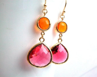 Orange and Red wedding earrings, Drop, bridesmaid gifts, Gemstone,Wedding jewelry,Dangle, christmas gift, cocktail jewelry