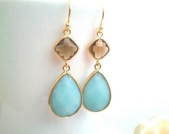 Blue and Brown Wedding earrings, Brown Drop Earrings, Dangle earrings, bridesmaid gifts, Gemstone,Wedding jewelry,gift