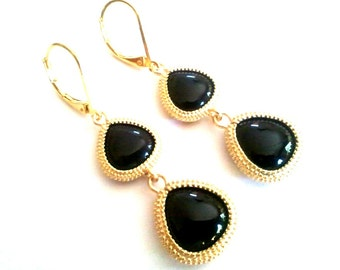 Black Onyx Gold Stone Wedding Earrings, Drop, Dangle, Earrings,bridesmaid gifts,Wedding jewelry