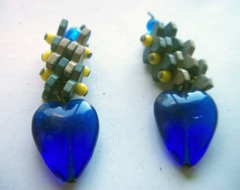 Vintage Blue Glass Dangles with Wood Flowers x 2    # XX 15