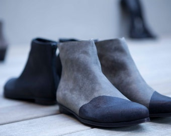 Two tone shoes, Grey flat ankle booties shoes colored black in the front. Designer boots for women.