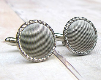 Grooved - Vintage glass button cufflinks