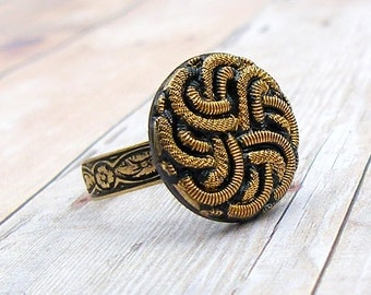 Gilded Knot - adjustable vintage glass button ring