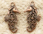 Filigree Seahorse Charm Pendant, Aged Copper Mykonos Casting (1) - X5162