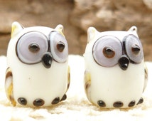 Opaque White Lampwork Glass Owl Beads (2)