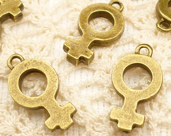 Female Gender Symbol Charms, Antique Bronze (4) - A38